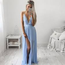 blue graduation dresses formal dress simple chiffon prom dress a line v neck light