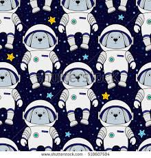 space wrapping paper rabbit astronaut space style stock vector 510607504