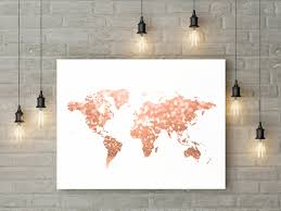 World Map Art Print by Rose Gold World Map Print Pink And Gold Map Art Travel Decor