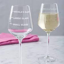 wine glass gift personalised drinks measure wine glass by becky broome