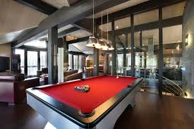 glass pool tables with dark carpet theme on the top also modern