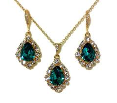 blue zircon jewelry necklace images Teal green bridal jewelry set peacock wedding blue zircon jpg