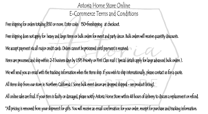 astoria home store e commerce terms and conditions astoria home