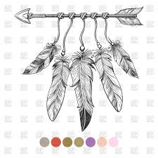 boho element arrow and feathers royalty free vector
