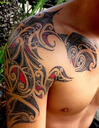 tribal hibiscus tattoo design on back shoulder in 2017 real photo