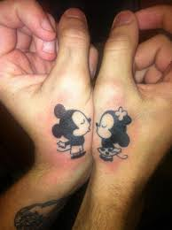 kissing mickey and minnie matching couple tattoo tattoos