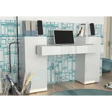 matelpro bureau matelpro bureau design laqué blanc nautilus l 145 x h 89 x p 60 cm
