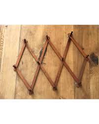 big deal on vintage wood peg board expanding coat rack