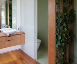 a waimauku bathroom uses plants as an ingenious privacy screen