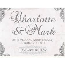 25 wedding anniversary personalised silver 25th wedding anniversary chagne by bottle