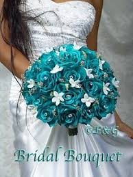 wedding flowers ebay 9 inch bouquet aqua black and ivory artificial roses with