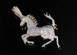 golden ferrari with diamonds 10k yellow gold ferrari logo horse 1 5 inch genuine diamond