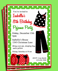 Invitation Card For Reunion Party Pajama Party Printable Invitation Christmas Birthday