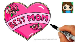 how to draw best mom bubble letters and heart youtube