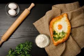 table cuisine en pin georgian cuisine top view of khachapuri on sackcloth flour eggs