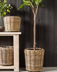 Rattan Baskets by Outdoor Rattan Basket Planter Balsam Hill