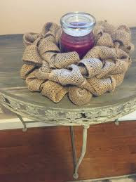 Burlap Home Decor Candle Ring Burlap Shabby Chic Candle Ring Small Wreath