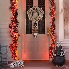 bone garland front door idea haunted house entrance ideas