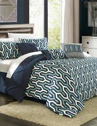 chic home design bib trefort navy geo print reversible comforter