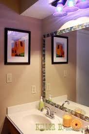 Framing Builder Grade Bathroom Mirror How To Frame A Bathroom Mirror With Mosaic Tile Bathroom Mirrors