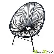 fauteuil en corde fauteuil acapulco chaise œuf design rétro cordage noir achat