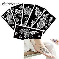 6 stücke henna tattoo schablone rose blume muster paste zeichnung