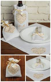 set of 19 wedding table decoration personalized linen embroidered