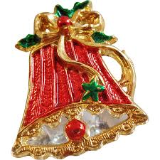 vintage red bell brooch red green gold christmas bell pin