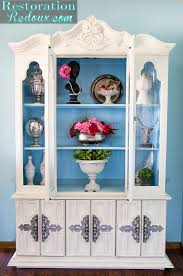 ivory and blue painted china hutch restoration redoux