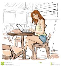 Sitting Chairs For Living Room Typing On Laptop Computer Sketch Young Woman Chatting Online