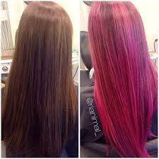 major makeover from deep brown to this rooted bright pink color