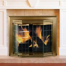 pleasant hearth glass fireplace door pleasant hearth grandior bay medium bifold fireplace doors on