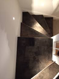 Leader Interiors Stairs In Leather With Edge In Brass Alphenberg Leather Water
