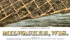 Birds Eye View Map Milwaukee Wisconsin In 1872 Bird U0027s Eye View Map Aerial