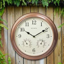 Patio Clock And Thermometer Sets by Amazon Com Acurite 00919 13 Inch Copper Indoor Outdoor Wall Clock