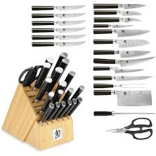 shun classic 21 piece mega knife block set natural