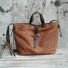 Upcycled Leather Bags - waxed canvas tote