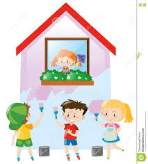 Painting House by Children Painting The House Pink Stock Vector Image 79623336