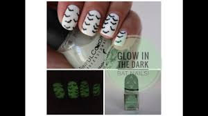 easy halloween bat nails glow in the dark tutorial youtube