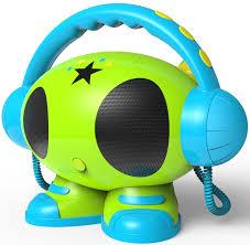cd player kinderzimmer bigben tragbarer mp3 karaoke roboter grün für kinder 2 mikrofone