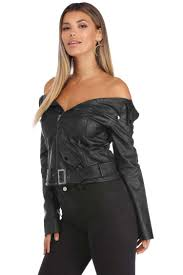 the moto jacket black off the shoulder moto jacket