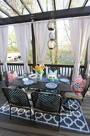 Dining Curtains Decorating Enchanting Outdoor Dining Furniture With Blue Outdoor