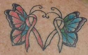 lung cancer ribbons tattoos cancer ribbon butterflies one for