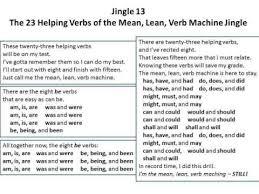 jingle 13 the 23 helping verbs of the mean lean verb machine
