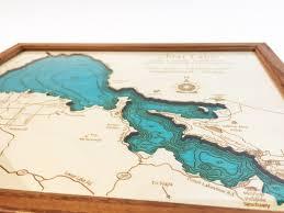 Lake Sakakawea Map Clear Lake Ca Single Depth Nautical Wood Chart 8