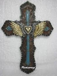 western crosses western decor stacked wood metal decorative cross turquoise