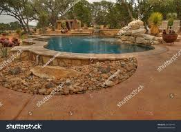 hdr image backyard pool arid landscape stock photo 24130945