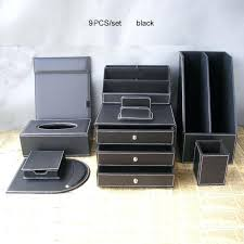 Desk Organizer Leather Black Leather Desk Organizer Set Office Business Leather Desk