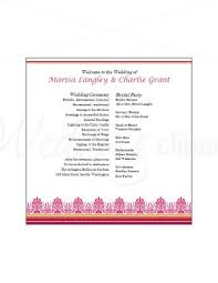 indian wedding program template printable pink fan program template
