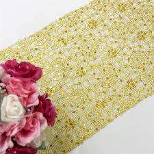 gold lace table runner gold sequin studded chemical lace table runner tablecloths factory